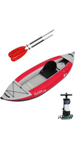 2019 Z-Pro Flash 1 Man High Pressure Inflatable Kayak, Paddle & Pump Red FL100