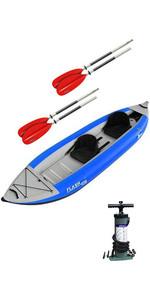 2019 Z-Pro Flash 2 Man High Pressure Inflatable Kayak, Paddles & Pump Blue FL200
