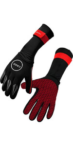 2021 Zone3 2mm Neoprene Swim Gloves NA18UNSG108 - Black / Red