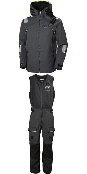 2019 Helly Hansen Aegir Race Jacket 33869 & Salopette 33871 Combi Set Ebony