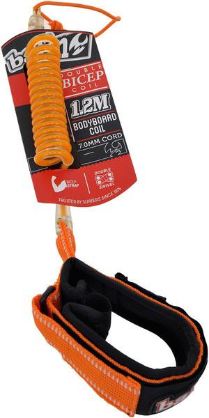 Balin Bicep Double Swivel Coil 1.2M Bodyboard Leash Orange - Large