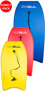 2019 GUL RESPONSE FAMILY PACKAGE BODYBOARDS - 1 ADULT 2 JUNIOR - BLUE, RED & YELLOW
