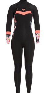 2020 Roxy Womens Syncro 4/3mm Chest Zip Wetsuit ERJW103055 - Black / Bright Coral
