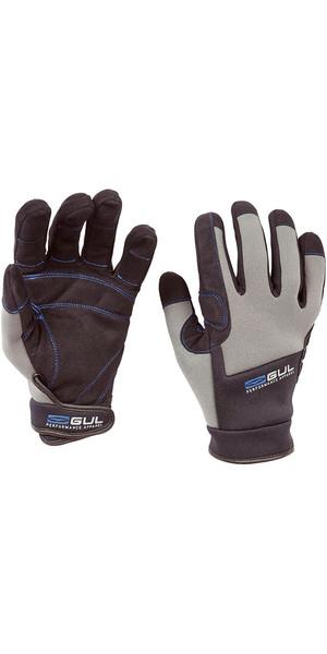 2018 Gul Winter FULL Finger Neoprene Backed Sailing Glove BLACK / Grey GL1238