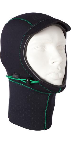 2018 Mystic Merino Wool 1.5mm GBS Neoprene Hood Black / Green 170115