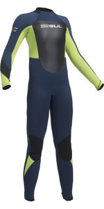 2020 Gul Junior Response 5/3mm Back Zip Wetsuit Navy / Lime RE1218-B1