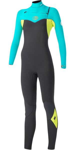 Rip Curl Womens Flashbomb 4/3mm Chest Zip Wetsuit GREY (turquoise) WSM5FG
