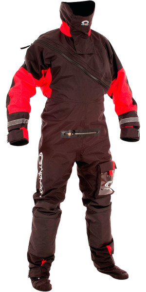 2019 Typhoon Max B Drysuit With Con Zip Black / Red 100168