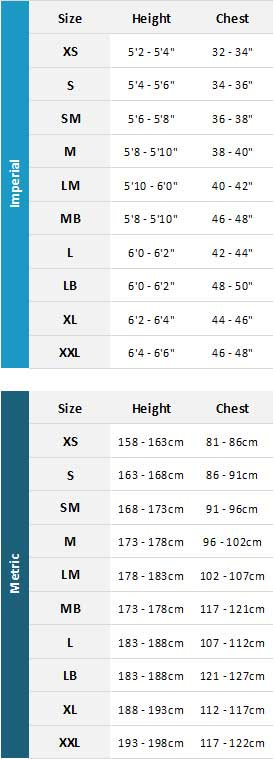 Typhoon Mens Drysuits 19 Mens Size Chart